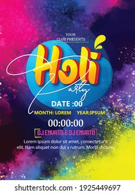 Happy Holi celebration with Creative Flyer, Banner or Pamphlet design for Indian Festival of Colours, background