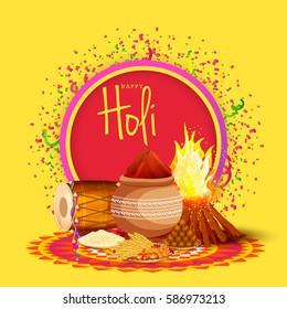 Happy Holi Celebration Poster Or Banner Background.