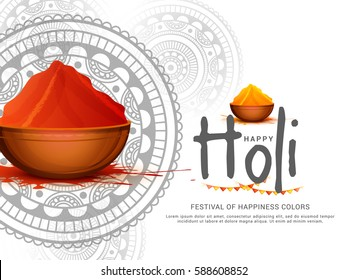 Happy Holi Celebration Poster Or Banner Background.