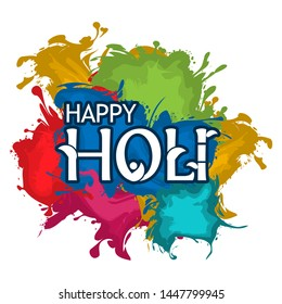 Happy Holi with colorful background, flat design, vector for web ,Creative poster, booklet, leaflet, flyer, magazine, invitation card