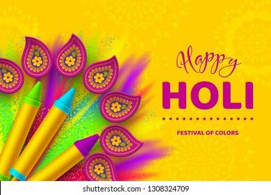 Happy Holi colorful banner for celebration hindu Festival of Colors. 3d realistic holi pichkari with color splash and rangoli. Vector illustration.