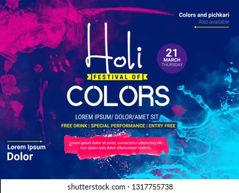 Happy holi, Holi Colors, colorful splash ,abstract design decorated Poster, Banner or Flyer for Indian Colour Festival,with colorful background