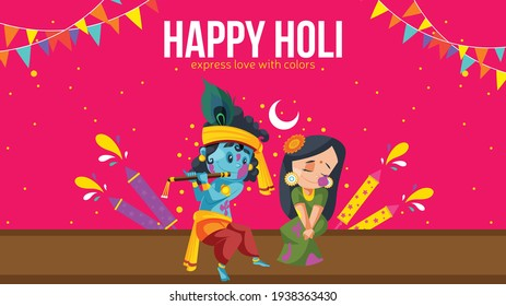 Happy holi express love with colors banner design with lord Krishna and Radha rani. Vector graphic illustration.
