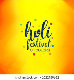 happy holi festival. colorful holi background with creative typography