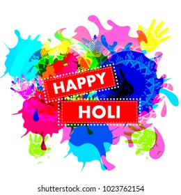 Happy Holi festival of colors background for holiday of India. Vector illustration