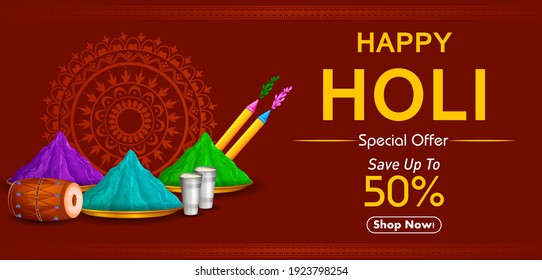 Happy Holi festival of colors background for Indian holiday. Vector illustration