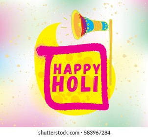Happy Holi, festival of colors. Typography, colorful logo. Vector background, text design. Usable for banners, greeting cards, flyers and posters, etc