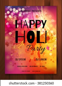 Happy Holi Festival. Creative Flyer, Banner, Invitation or Poster design for Indian Festival of Colors, Holi celebration. Vector illustration