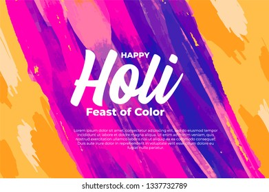 Happy Holi festival watercolor background. Greeting card, poster, banner vector design.