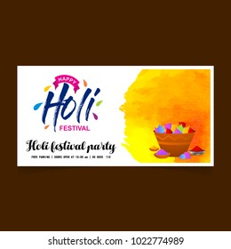 happy holi festival. white holi banner having watercolor, creative typography and sample text