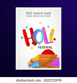 happy holi festival. white holi brochure having colorful holi elements, creative typography and sample text