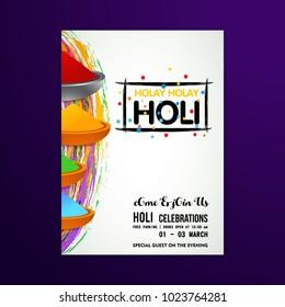 happy holi festival. white holi brochure having colorful holi elements, creative typography and sample text