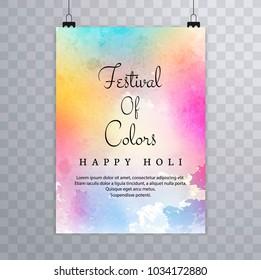 Happy holi festival.holi brochure splash colorful watercolors background