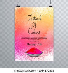 Happy holi festival.holi brochure splash colorful watercolors background