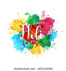 Happy Holi Greeting Banner Background with Realistic Colorful Holi Powder Paint Clouds and Hindi Celebration Text and Indian Ornament. Blue, Yellow, Pink and Purple Brush. Vector Illustration