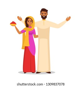 Happy Holi greeting card for Indian festival of colours. Smiling Indian woman and man in traditional clothes holds a bowl with red holiday powder