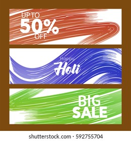 Happy Holi greeting new style text 50% offer sale  abstrac vector background, eps10