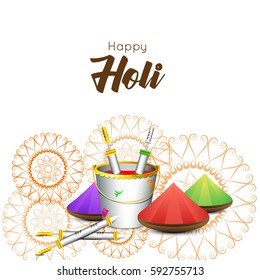 Happy Holi greeting new style text white background concept design element, eps10
