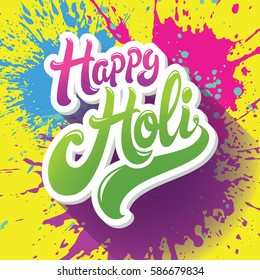 Happy Holi greeting. Spring festival of colors vector background with paint splashes in different colors: blue, yellow, pink and violet.