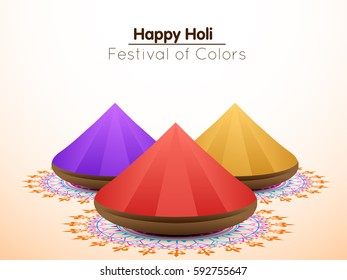 Happy Holi greeting vector background concept design element with realistic powder paint, eps10