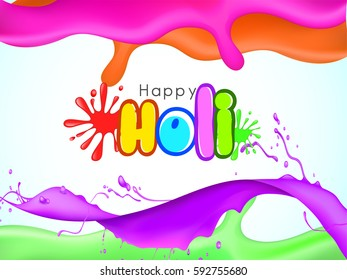 Happy Holi greeting vector background concept design element. eps10