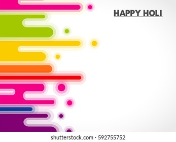 Happy Holi greeting vector background concept design element with realistic volumetric yellow, pink and violet powder paint, eps10