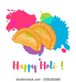 Happy Holi Gujiya traditional holi sweet colorful card, poster. Vector illustration. Color splashes and sweets cartoon flat style illustration