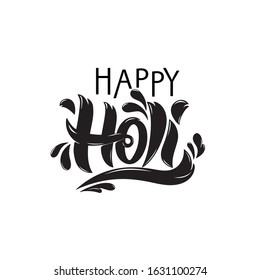 Happy Holi handwritten text. Hand lettering, modern brush ink calligraphy isolated on white background. Indian festival of colors theme. Typography design for greeting card, poster, logo, banner flyer