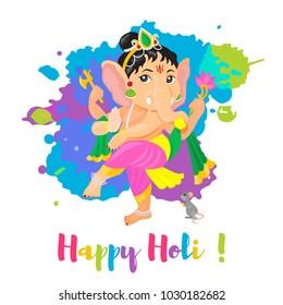 Happy Holi Holiday poster with Lord Ganesha God. Colorful flat cartoon style illustration. Vector illustration