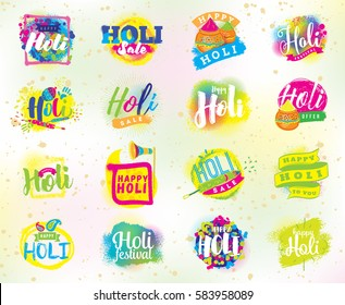 Happy Holi, Indian festival of colors. Typography, colorful logo. Vector background, text design. Usable for banners, greeting cards, flyers and posters, etc