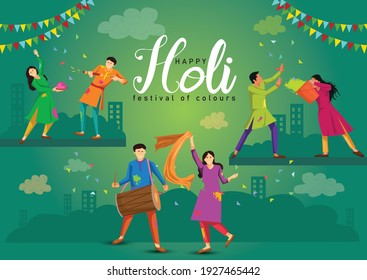 happy Holi Indian festival, poster, banner, template. Cartoon Young people Playing Holi On colorful costume . vector illustration design. - Shutterstock ID 1927465442