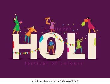 happy Holi Indian festival, poster, banner, template. Cartoon Young people Playing Holi On colorful costume . symbolic vector illustration design.