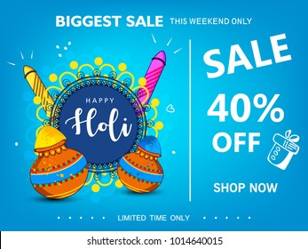 Happy holi Indian hindu festival 2018 . traditional editable vector illustration composed of water color gun with decorated floral frame and sale ,40% off text