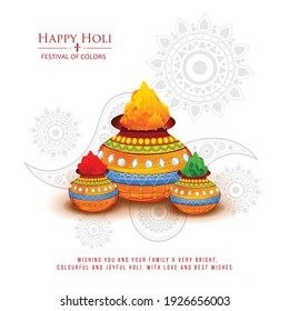 Happy Holi indian hindu festival of colors greeting orange background with colorful green, blue, red powder , banner, poster, creative, flyer