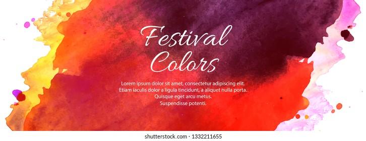 Happy Holi Indian spring festival colorful banner design