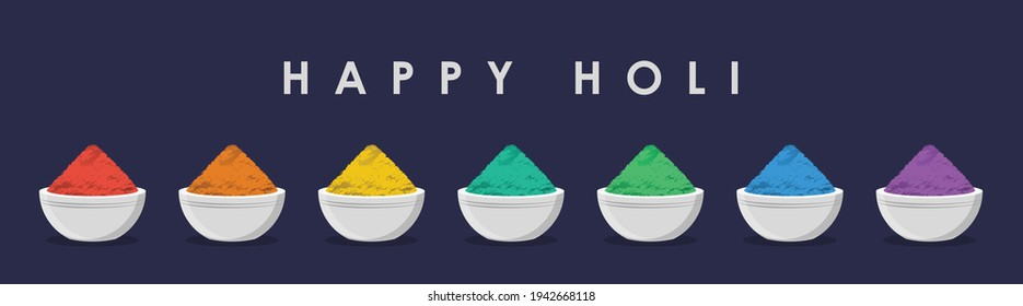 Happy Holi Minimalist Graphic illustration in flat style, Beautiful Round Shaped Bowls filled with heap, mound or pile of colour Powder set isolated on a dark bluish background for Festival of Colors.
