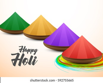 Happy Holi new style greeting vector background concept design element with realistic powder paint, eps10