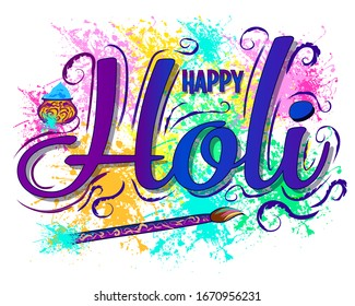 Happy Holi party poster. Wall stickers