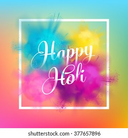 Happy Holi spring festival of colors greeting vector background with realistic volumetric colorful Holi powder paint clouds and sample text. Blue, yellow, pink and violet powder paint
