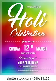 Happy Holi spring festival of colors. Poster, flyer or invitation template. Vector Illustration.