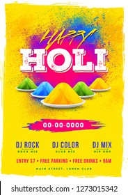 Happy holi template or flyer design with time, date and venue details.