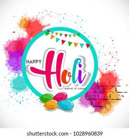 Happy Holi Vector background .
