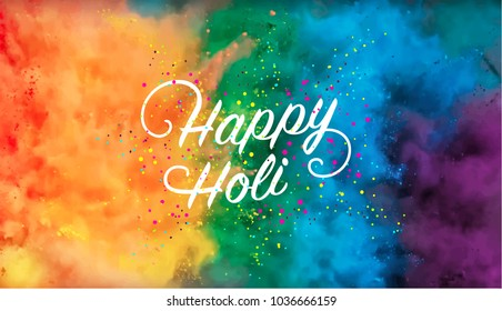 Happy Holi vector banner design, eps 10 file. Colorful background with text.