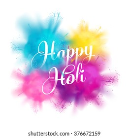 Happy Holi vector celebration concept design element with realistic volumetric colorful Holi powder paint clouds and sample text. Ideal for banners, invitations and greeting cards