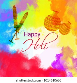 Happy holi vector elements for card, poster design- Happy holi design with color splash and pichkaari.