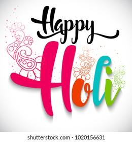 Happy holi vector elements for card design, Holi background design for flyer.