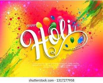 Happy holi vector elements for card design , Happy holi design - Vector