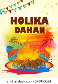 Happy Holi, Vector Illustration based on Holika Dahan with Colors on colorful grungy background on the celebration of Holi.
