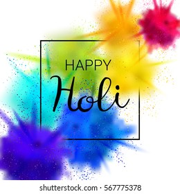 Happy Holi vector illustration with colorful gulal (powder color) explosion.
