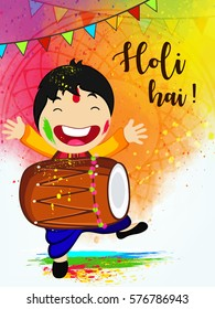 Happy Holi Vector Illustration showing Happy Boy celebrating Holi and Dancing on the occassion of Hindu Festival Holi.